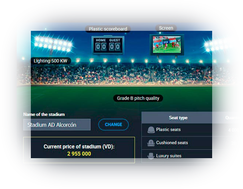 Stadium virtual football manager