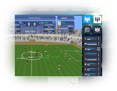 3D training and match 3D football manager game